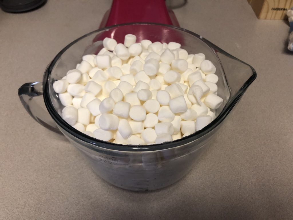 marshmallows in mixing bowl