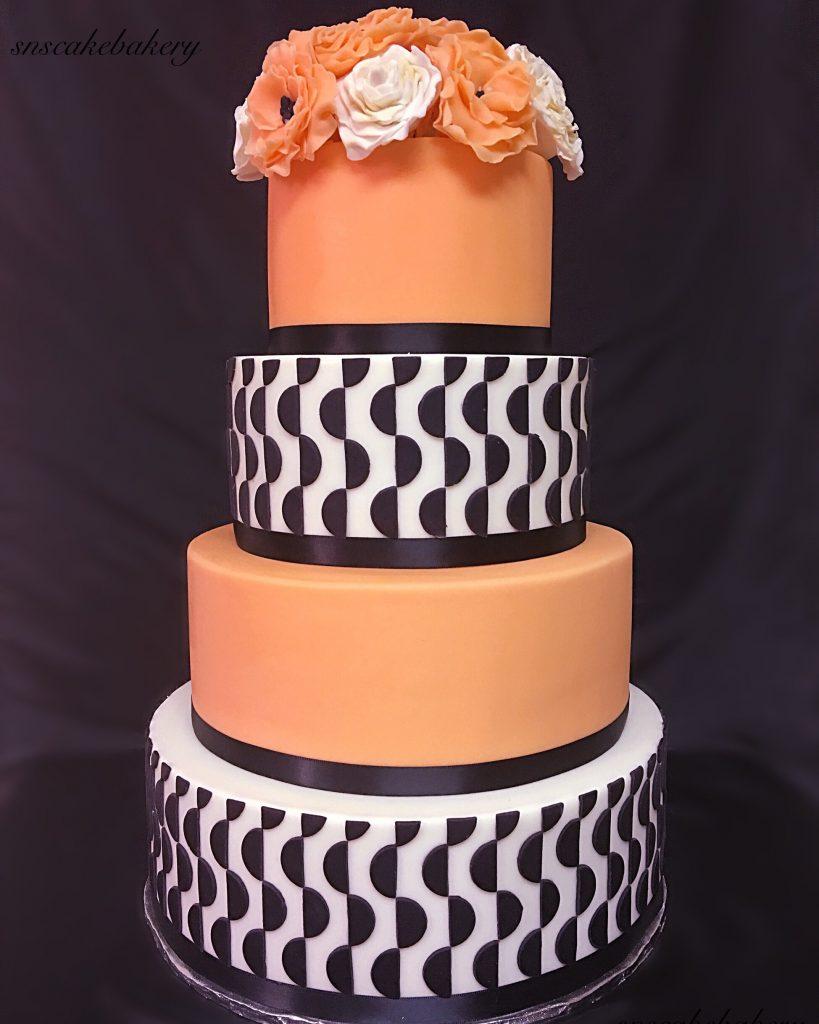 patterned wedding cake