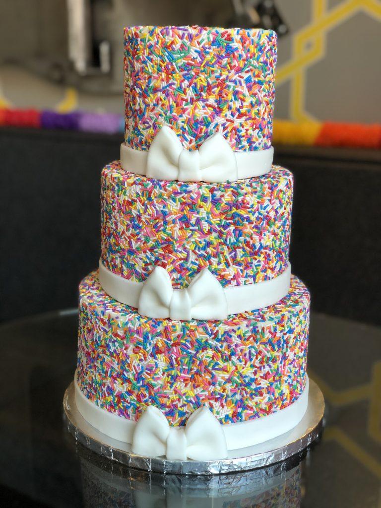 3 tier rainbow cake.