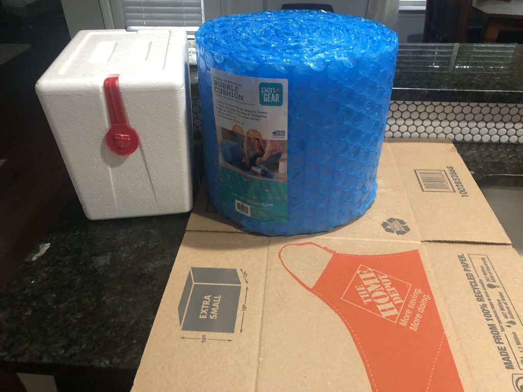 Materials needed to ship a cake